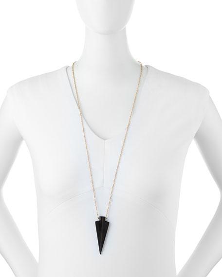 Glass Arrowhead Pendant Necklace, Jet