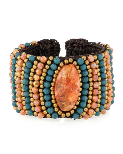 Agate Beaded Rope Cuff Bracelet, Teal/Orange