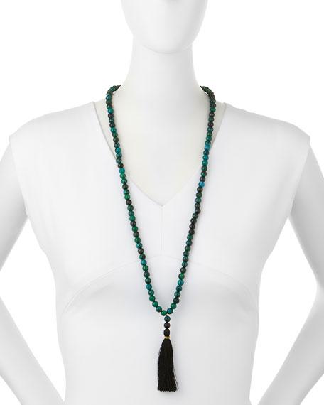 Howlite Bead Tassel Pendant Necklace