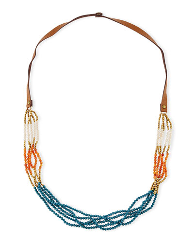 Colorblock Multi-Strand Beaded Necklace, Orange/Teal/Multi, 36