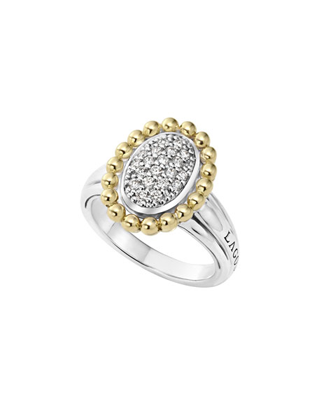 LAGOS 18K Gold Caviar & Oval Diamond Ring