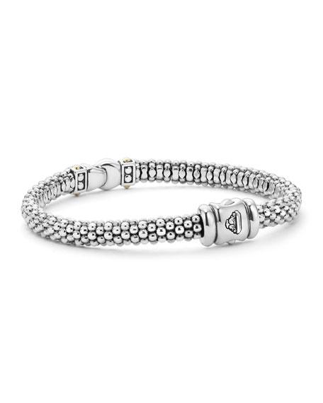 Lagos Sterling Silver Caviar Diamond Rope Bracelet 6mm Neiman Marcus