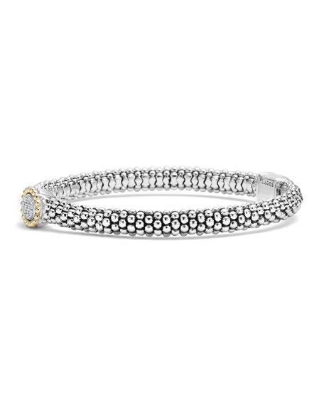 Sterling Silver Caviar & Pavé Diamond Oval Bracelet, 6mm