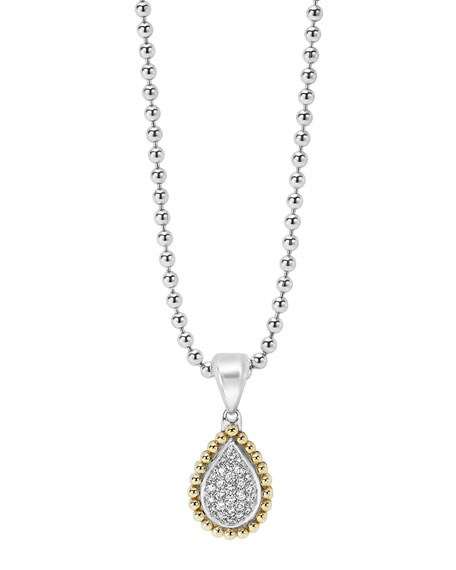 LAGOS 18K Gold Caviar & Pavé Diamond Teardrop
