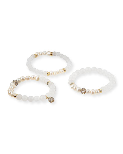 Set of 3 Pearlescent Bracelets, White