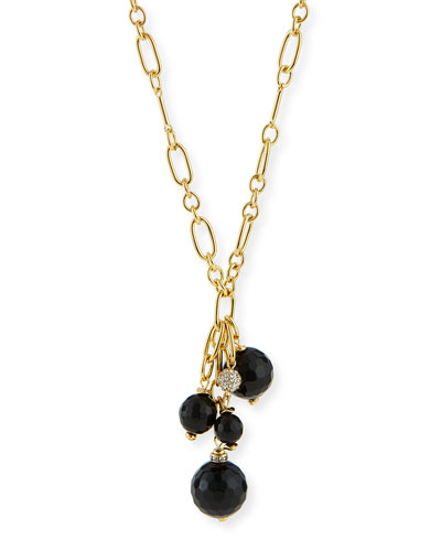 Cluster Bead Y Tassel Necklace, Black