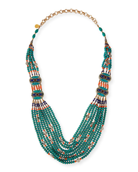 Devon Leigh Turquoise & Coral Long Beaded Necklace,