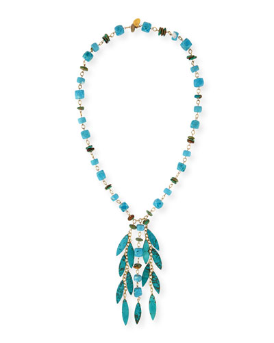 Turquoise Station Fringe Necklace, 30
