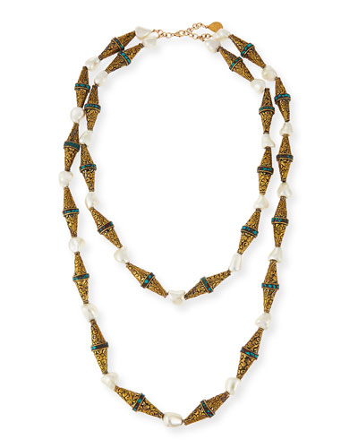 Etched Brass & Pearly Double-Strand Necklace