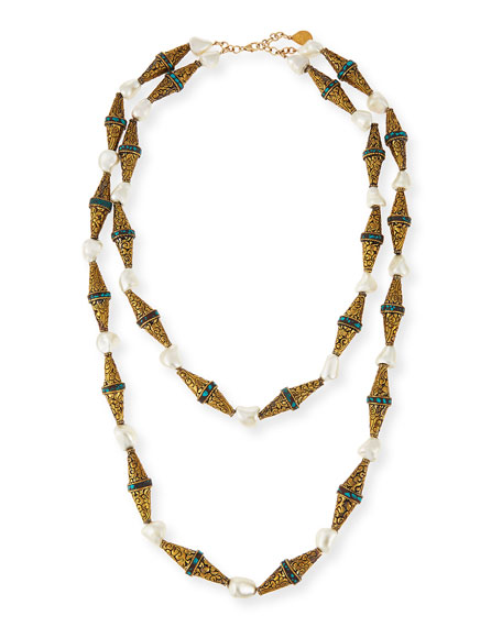Devon Leigh Etched Brass & Pearly Double-Strand Necklace