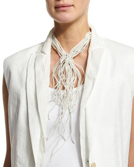 Brunello Cucinelli Riverstone Choker Tie Necklace, White