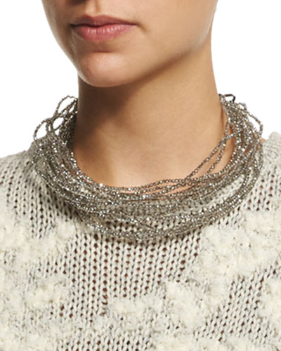 Multi-Strand Beaded Choker Necklace, Quartz