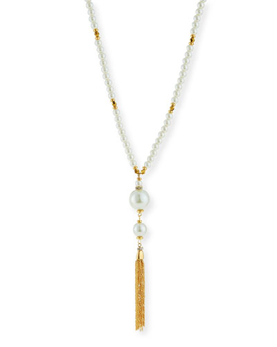 Pearly Tassel Y Necklace