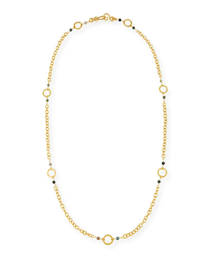 Infinity 24K Gold-Plated Necklace, Green Moss