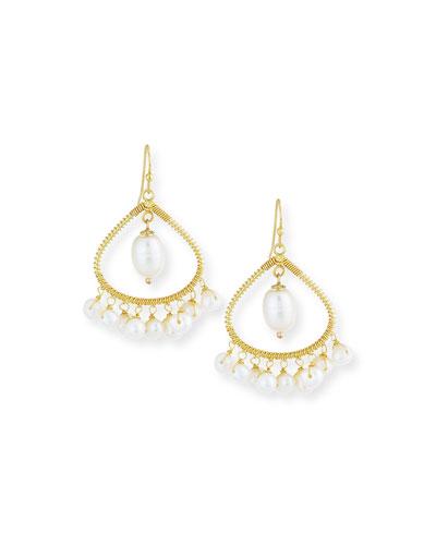 Open-Hoop Pearl Chandelier Earrings