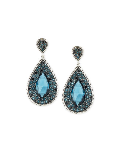 Batu Classic Chain Blue Topaz Drop Earrings