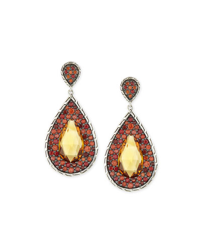 Batu Classic Chain Citrine Drop Earrings