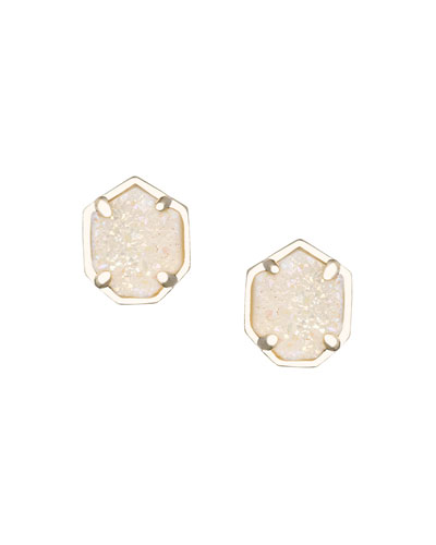 Logan 14K Rose Gold Druzy Button Earrings