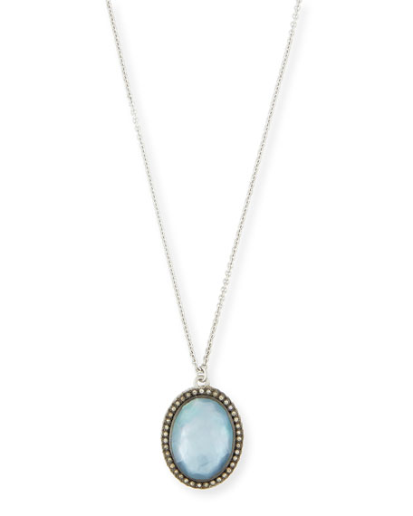 Armenta New World Oval Blue Sapphire Triplet Pendant Necklace