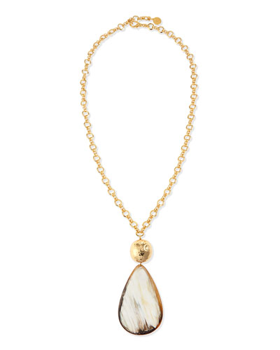 Teardrop Horn Pendant Necklace, 34