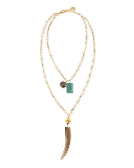 NEST Jewelry Double-Strand Horn Pendant Necklace, 33