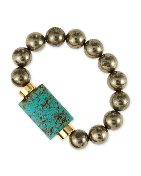 Turquoise & Pyrite Bead Stretch Bracelet