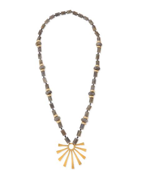 NEST Jewelry Long Labradorite Sun-Ray Pendant Necklace
