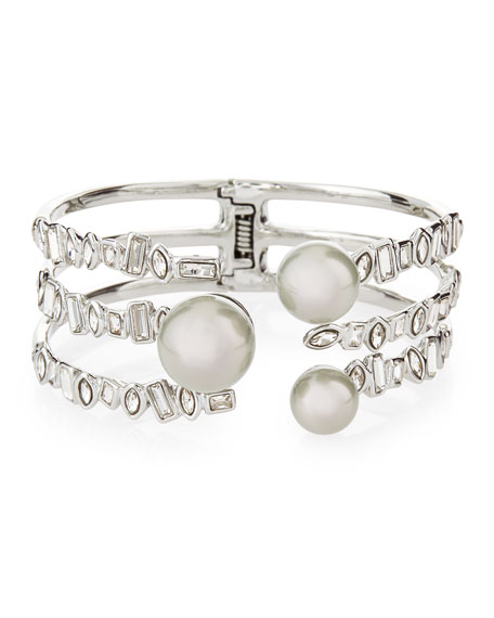 Alexis Bittar Broken Glass Pearly Open Cuff Bracelet