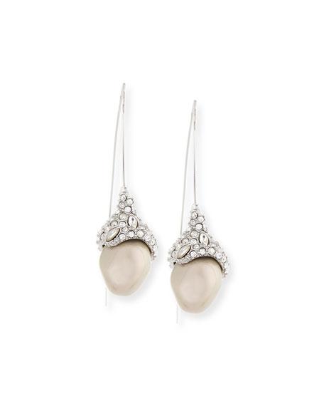 Infinity Wire Pearly Drop Earrings