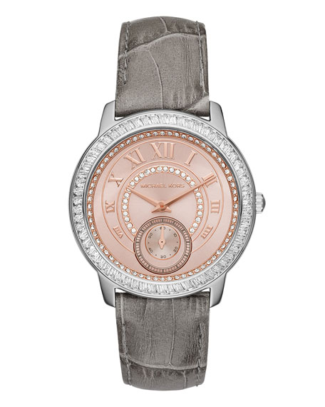 MICHAEL MICHAEL KORS Madelyn 40mm Leather Strap Watch, Gray
