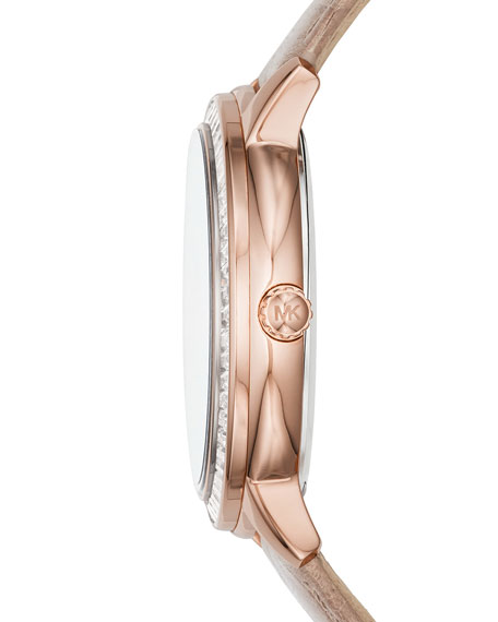 Madelyn 40mm Leather Strap Watch, Rose Golden