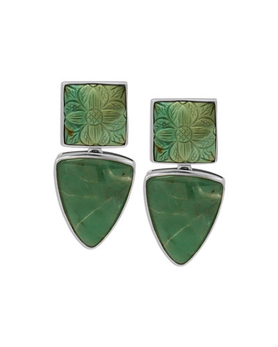 Carved Turquoise & Chrysoprase Clip-On Earrings