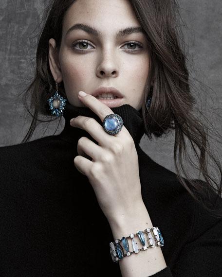 Pavé London Blue Topaz & Moonstone Cabochon Ring