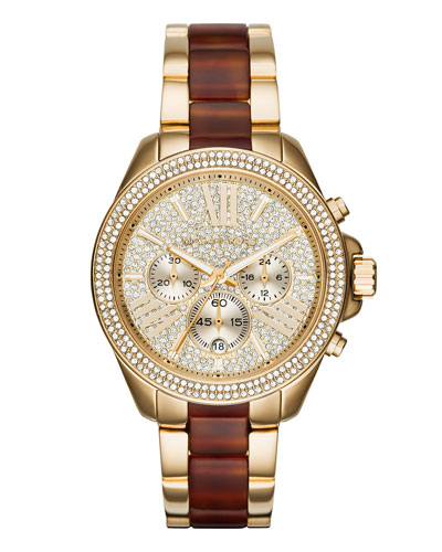 Wren 41.5mm Pavé Crystal Chronograph Watch, Golden/Whiskey