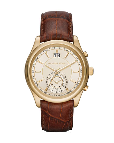 Pennant 43mm Embossed Leather Strap Watch, Brown
