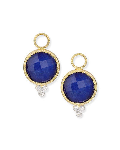 Provence Round Lapis Charms for Earrings