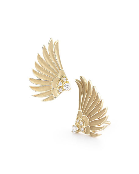 Small 14k Diamond Wing Earrings