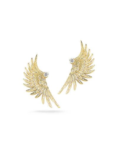 Large 14K Gold Pavé Diamond Wing Earrings