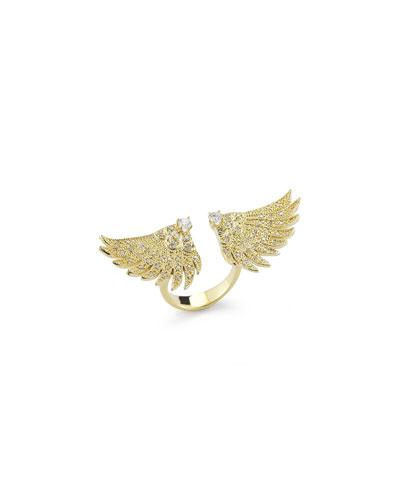 14K Gold Pavé Diamond Double-Wing Ring