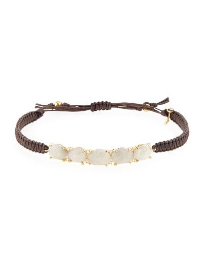 Labradorite Station Bracelet w/Silk Cord, Brown