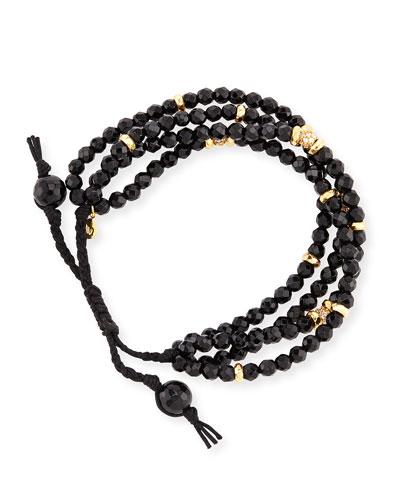 Faceted Black Agate Silk Cord Bracelet