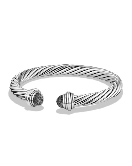 David Yurman 7mm Pavé Black Diamond Dome Bracelet