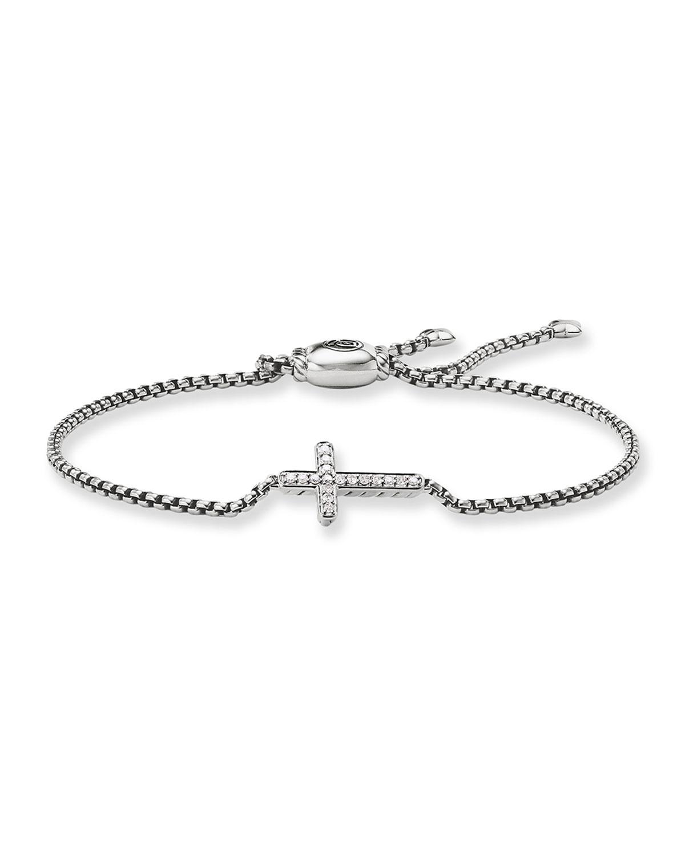 Pee Pave Diamond Cross Bracelet