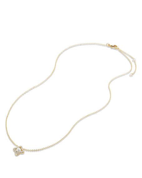 5mm Venetian Quatrefoil Pearl & Diamond Necklace