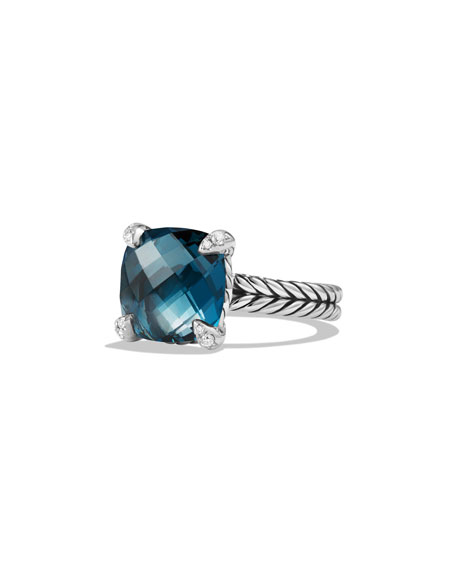 David Yurman 11mm Châtelaine Hampton Blue Topaz Ring