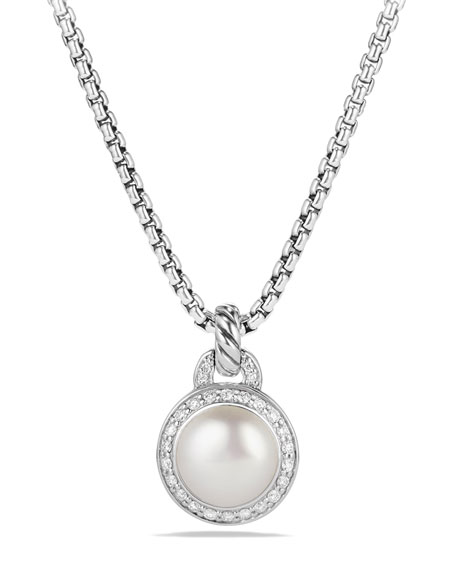 Petite Cerise Pearl Pendant Necklace w/Pave Diamonds