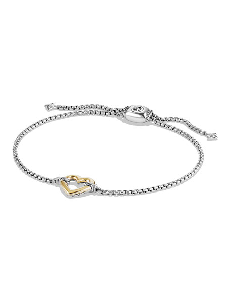 Cable Collectibles Heart Station Bracelet With 18K Gold, Silver/Gold