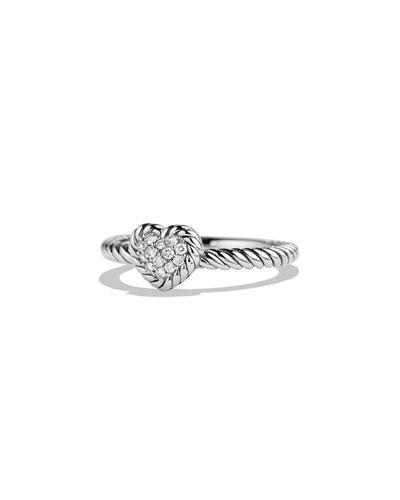 David Yurman 8mm Valentine Hearts Diamond Ring