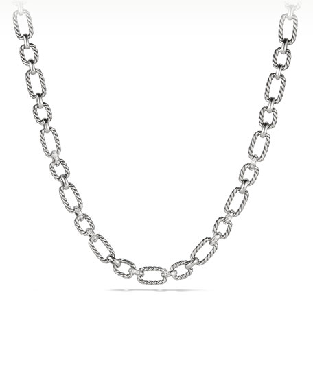 12.5mm Cushion Link Chain Necklace with Diamonds