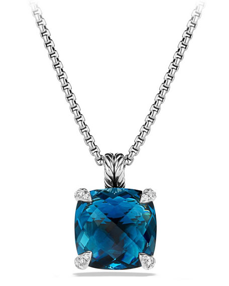 David Yurman 14mm Châtelaine Hampton Blue Topaz Pendant